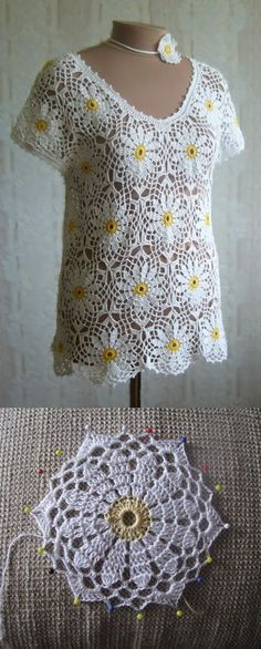 "diy_crafts-Blusa de crochê ""Crochet Patterns Jacket Making the inner white, looks nobler"", ""Dang, this would be cute with a yellow tank under. Pull Crochet, Gilet Crochet, Crochet Cardigan, Crochet Motif, Crochet Lace, Crochet Stitches, Crochet Patterns, Crochet Flowers, Crochet Bodycon Dresses"