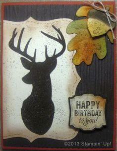 Stampin' Up! Cards - Remembering Christmas and Label Love stamp sets, Top Note and Autumn Accents Dies, Woodgrain Embossing Folder, Artisan Label Punch, Happy Birthday