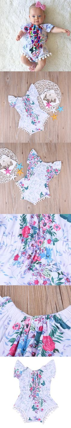 Newborn Baby Girl Clothes Floral Romper Sleeveless Infant Jumpsuit Outfit (18-24 Months)
