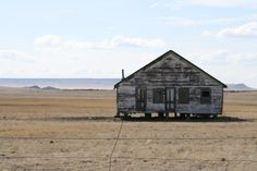 Abandoned  little old house on the plains of Texas.