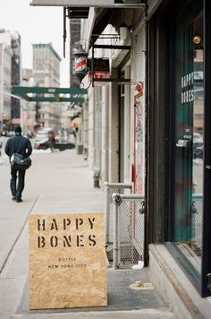 Happy Bones NYC Coffee plywood a-board #a-board So simple! So doable! Looks great!