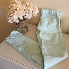 J Crew Mint skinny jeans These pants are skinnies! The color is mint and its in very good conditions! J. Crew Jeans Skinny