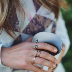 Simple Layers. Love seeing our beautiful hammered stacking ring on blogger babe @jenkhawkins. Click through to shop now! #HandMadeJewelry #StackedRings