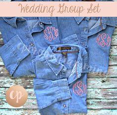 Monogram Denim Shirt | Bridesmaid Button Up | Monogrammed Shirt | Monogram Button Down | Bride Shirt | Bridal Party | Wedding Denim Shirt by CPMONOGRAMMING on Etsy https://www.etsy.com/listing/545924579/monogram-denim-shirt-bridesmaid-button