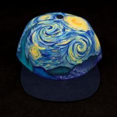 Vincent Van Gogh-Starry Night Inspired Hand Painted Hat ManikApparel.com