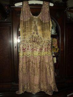 Antique 1920s Lame Metallic Beaded Flapper Dress by Bellasoiree, $1800.00