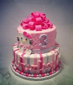 Girls birthday cake. Could change out Hello Kitty.