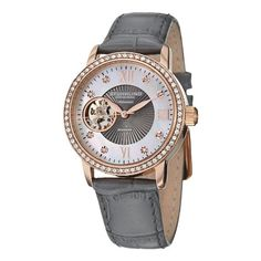 Women  Watches - Stuhrling Original Womens 71004 Vogue Automatic Self Wind Grey Genuine Leather Strap Watch ** Find out more about the great product at the image link. (This is an Amazon affiliate link)