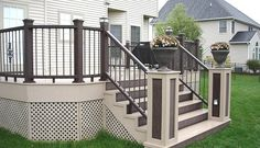Pictures of decks, deck photos, decking pictures, deck railing . Deck Railing Design, Deck Railings, Patio Design, Deck Stairs, Deck Stain Colors, Deck Colors, Patio Pictures, Decks And Porches, Pool Landscaping