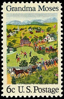 Your Grandma's Artist. Posted June 2017 (photo: Grandma Moses, 1969 postage stamp based on her painting 'The Fourth of July'). Karla Gerard, Just In Case, Just For You, Grandma Moses, Commemorative Stamps, Vintage Stamps, Naive Art, Stamp Collecting, Oeuvre D'art