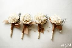 Rustic wedding - love the little hint of feather to accent