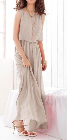 Grey Pleated Chiffon Maxi Dress is stylin' Chiffon Maxi Dress, Dress Skirt, Maxi Dresses, Tank Dress, Bridesmaid Dresses, Pleated Maxi, Maxi Skirts, Bohemian Bridesmaid, Church Dresses