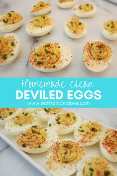 Try out this super easy and clean recipe for homemade deviled eggs. Deviled eggs are the perfect Spring time snack or appetizer that your friends and family will go nuts for. Plus they are so easy to make and completely healthy and delicious! Healthy Egg Recipes, Healthy Homemade Snacks, Vegetarian Recipes, Cooking Recipes, Clean Recipes, Snacks Recipes, Healthy Foods, Clean Eating Vegetarian, Diet