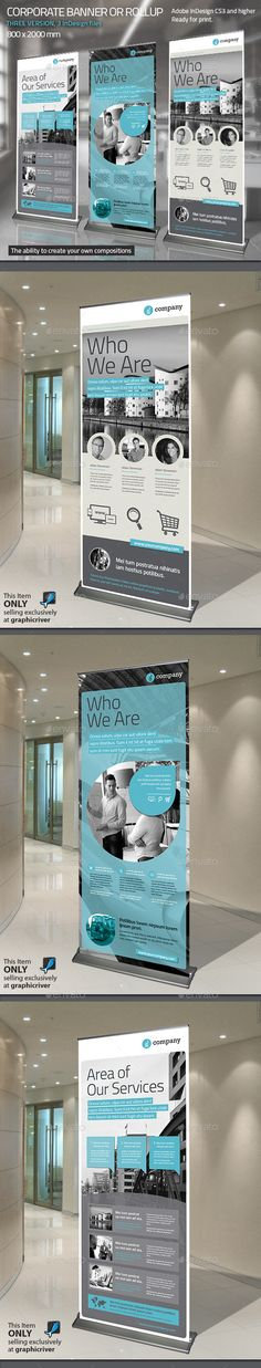 Buy Corporate Banner or Rollup Vol. 8 by Paulnomade on GraphicRiver. Modern and clean design for banner/rollup. Perfect for PR agency or other business promotion. Web Design, Layout Design, Print Design, Flyer Design, Corporate Values, Corporate Design, Corporate Business, Layout Inspiration, Graphic Design Inspiration