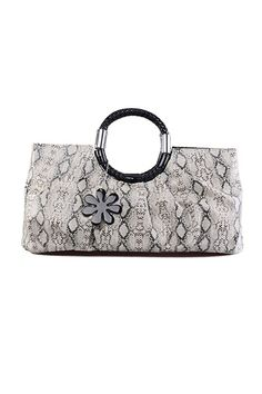 This handbag crafted in PU, featuring snake skin printing to the main, double round handle with metal embellishment, top zip closure, rectangle shape.$96