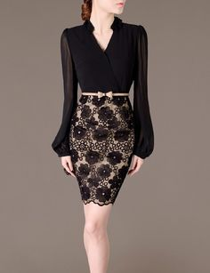 Verano nuevo estilo New Arrivals 2015 vestidos las mujeres de manga larga negro elegante de la gasa del remiendo del bordado de Bodycon vestido de la oficina 1926 en Vestidos de Moda y Complementos Mujer en AliExpress.com | Alibaba Group---18.45$