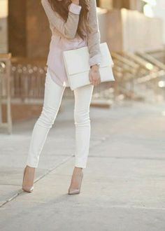Love this look - white jeans made into any day of the week work fashion  Visit www.corphaus.com.au - corporate fashion hub