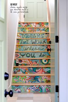 patterned stairs #steps #decor #quote