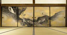 Tigers fusuma (Yûko zu, 遊虎図) by Maruyama Ōkyo (円山 応挙, 1733 – 1795). Edo period, 1787. Collection of Kotohira-gu Shrine (Kagawa). Important Cultural Property of Japan.