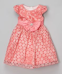 Loving this Coral Geometric Bow Dress - Infant, Toddler & Girls on #zulily! #zulilyfinds