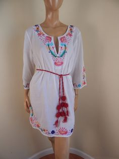 Mexican guaze embroidered dress