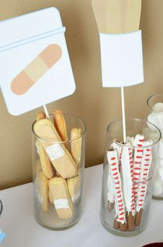 Baby shower party treats! See more party planning ideas at CatchMyParty.com!