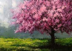 Cherry Blossom Shade Tree - Original Fine Art for Sale - © Bob Kimball