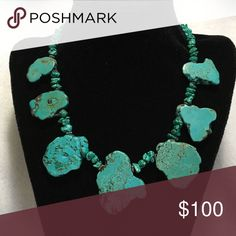 TURQUOISE SLAB WITH STERLING SILVER NECKLACE Turquoise Slab with Sterling Silver Beads and Clasp. Bit of Heaven Jewelry Necklaces