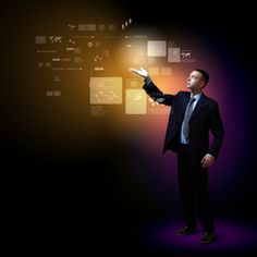 Businessman standing with modern technology symbols Information Technology, Cool Photos, Coaching, Symbols, Concept, Illustration, Modern, People, Fictional Characters