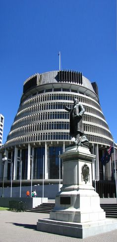 Beehive Wellington (Parliament Building)  & Statue of Richard John Seddon to date the longest serving Prime Minister of New Zealand