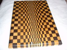 Checkerboard Butcher Block - Optical Art In Walnut And Maple Wood - Adorn Your…