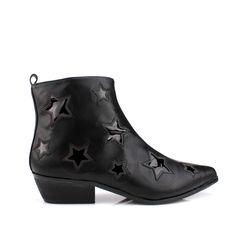 "Upper: vegan distressed leather.   Sole: man made.   Lining: man made.  Reflective stars.  Silk double stitching.  Wooden bottom.  1 1/2"" heel.        YRU original. Women's shoe...."
