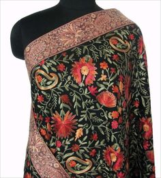 Large Wool Shawl Kashmir Crewel Embroidery Paisley Photo @Af's Collection