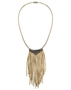 Fiona Paxton Daisy Leather Fringe Necklace in Oxidized available at SWANK! We are LOVING this boho style statement necklace!