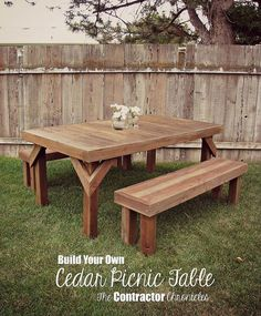 diy cedar picnic table, diy, outdoor furniture, outdoor living, painted furniture, rustic furniture, woodworking projects