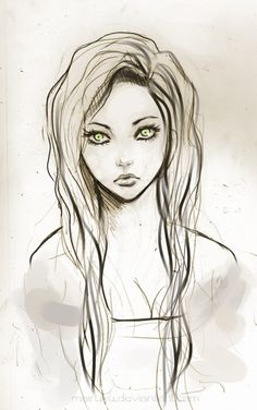 art, girl, green eyes, hair, pretty, sketch
