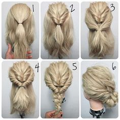 Easy twisted bun for everyday. I think, that this hairstyle is inspired by queen Elsa from Frozen. Made on blonde hair