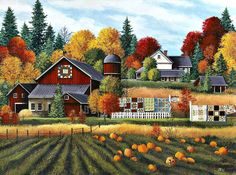 """Autumn on the Farm"" - painting by Debbi Wetzel, via Fulcrum Gallery Autumn Painting, Autumn Art, Farm Paintings, Autumn Scenes, Farm Art, Country Art, Fall Pictures, Home Art, Fine Art Prints"