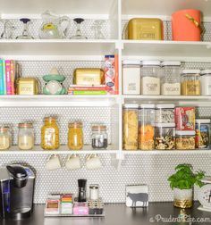 A Prudent Life's Organized Pantry Reveal - tile wall & tons of storage ideas