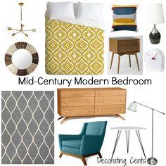 Decorating Cents: Mid-Century Modern Bedroom