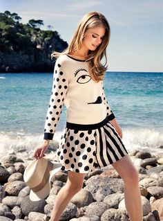 Cotton knit ja black and white print skirt, Nümph / Photo: Ofer Amir