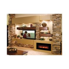 Modern Flames Builder Series Fantastic Flame 43 Inch No Heat Electric Fireplace On/Off Only - Fireplace Update, Cozy Fireplace, Living Room With Fireplace, Home Theater Design, Home Theater Seating, Built In Shelves Living Room, Family Room Walls, Rustic Fireplaces, Small Room Design