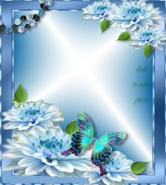 BABY BLUE FRAME WITH FLOWERS