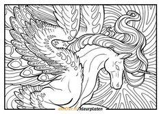 Kleurplaat eenhoorn voor volwassenen Horse Coloring Pages, Unicorn Coloring Pages, Fairy Coloring, Colouring Pages, Coloring Pages For Kids, Coloring Sheets, Printable Coloring Pages, Coloring Books, Free Coloring