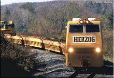 A Herzog work train rolls along Norfolk Southern's Captina Secondary near Armstrong Mills, Ohio on October Work Train, Norfolk Southern, Real Model, October 20, Model Trains, Locomotive, Railroad Tracks, Planes, Ohio