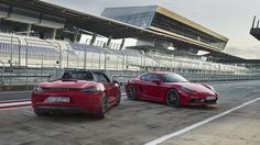 Porsche has unveiled new GTS models for its mid-engine 718 Boxster and 718 Cayman models. The upgrades to the 718 Boxster GTS and 718 Cayman GTS are what we have come to expect from GTS branded Porsche's. They focus on performance while giving th. Porsche Boxster, Porsche 718 Cayman Gts, Boxster S, Porsche Taycan, Porsche Carrera Gt, Red Sports Car, Sports Sedan, Cayman Gt4, Roadster