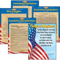 "U.S. Documents Learning Charts Combo Pack, 5 charts, 17"" x 22"" | Utah Idaho Supply/Map World"
