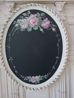 OMG ORIGINAL Christie REPASY PAINTING PINK ROSES on BLACK CHALK BOARD Oval FRAME