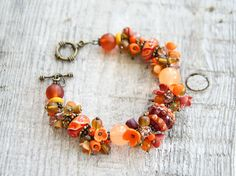 Autumn boho bracelet lampwork jewelry orange flower bracelet gift ideas for mom floral jewellery trending homemade gifts Xmas gift for her by YaTomkaStore on Etsy