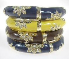 NEW LOT 4 DESIGNER Gold Plated Yellow Brown Blue Enamel Crystal Bangle Bracelets at www.ShopLindasStuff.com